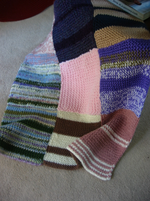 Blanket squares knit by Laura Carlos of Neptune, NJ
