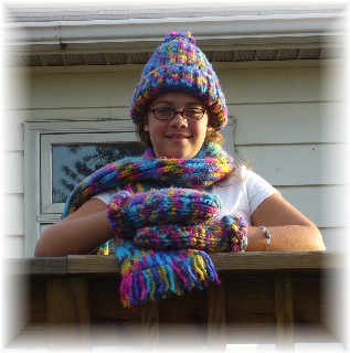 This cute set was knit with mittens pattern from Faith, basic hat and scarf from KB site.