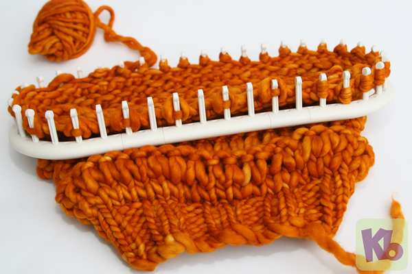 Autumn Slouch on Loom k2tog