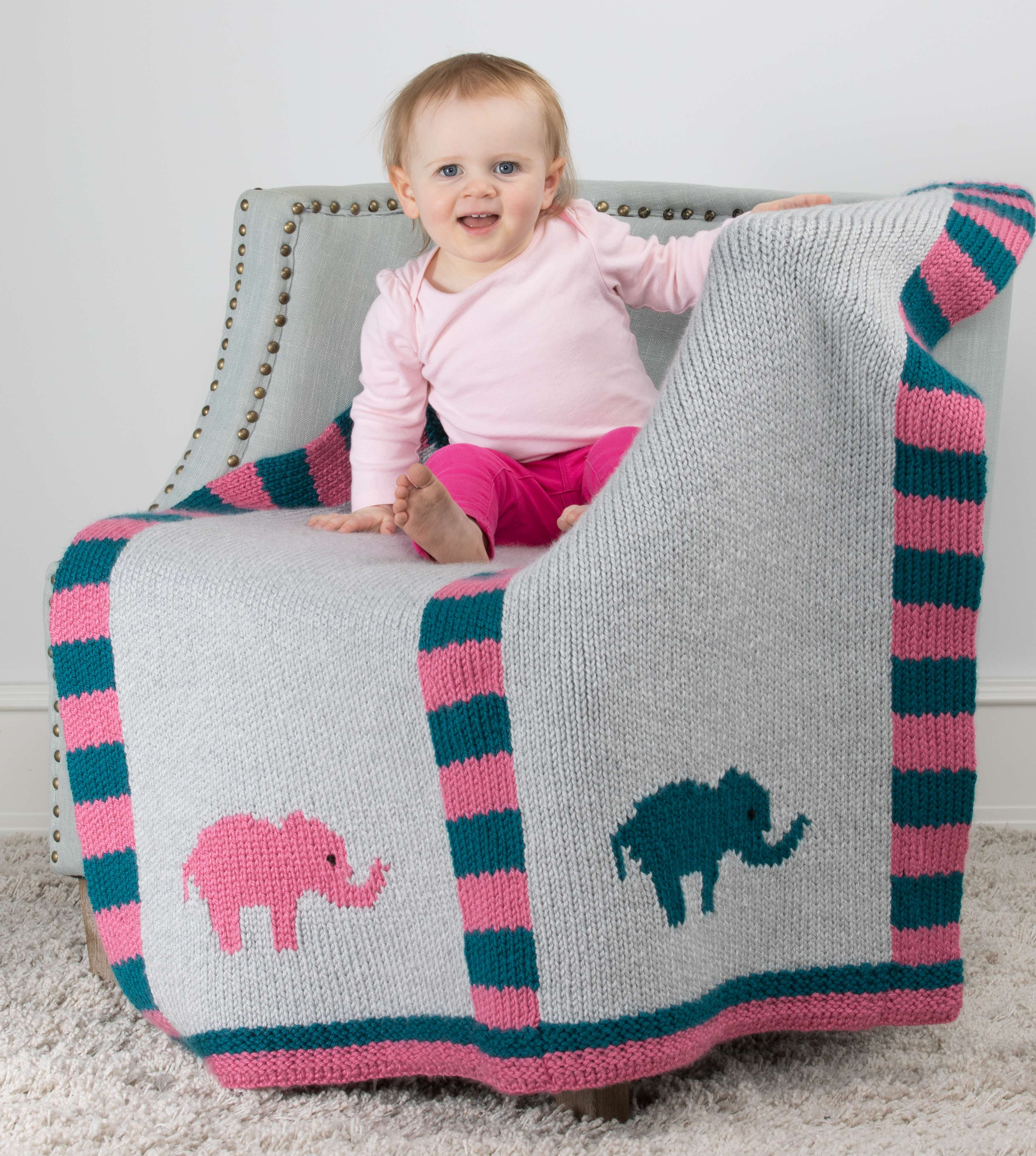 Knitting Pattern Baby Blanket Elephant : Elephant Baby Blanket (double knit)   Knitting Board Blog