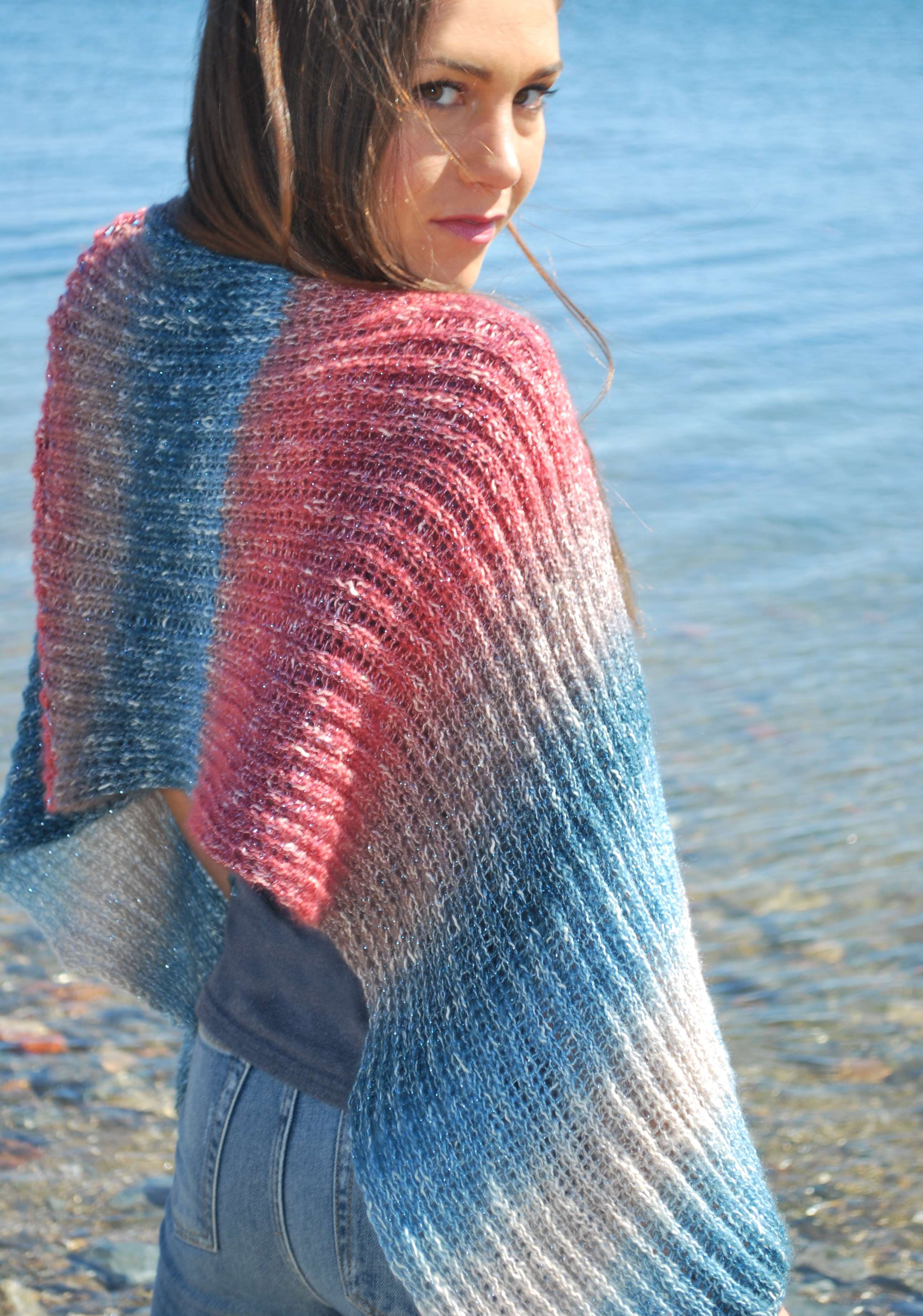 00c0ae1af A very simple pattern with continuous rib stitch throughout. Knit in double  knit with 60 double pegs. Shawl is made light and airy with the Shawl in a  Cake ...