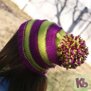 Pom Pom Striped Hat Back 2