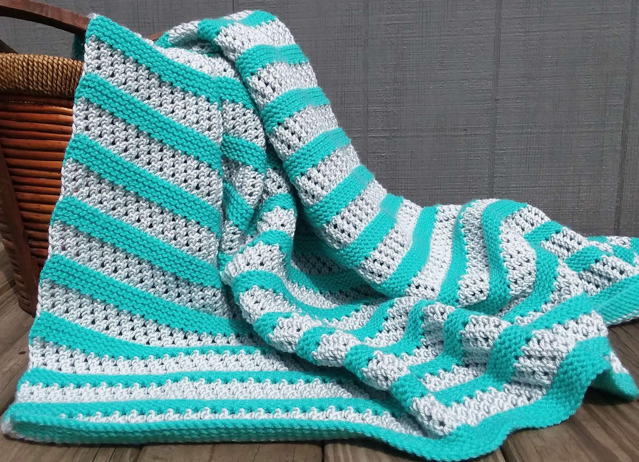 9ce7f0ff283 Aqua Stripe Blanket (42″ x 50″)