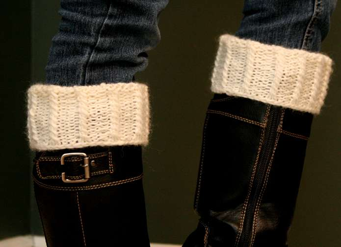 mock cable boot cuffs close up