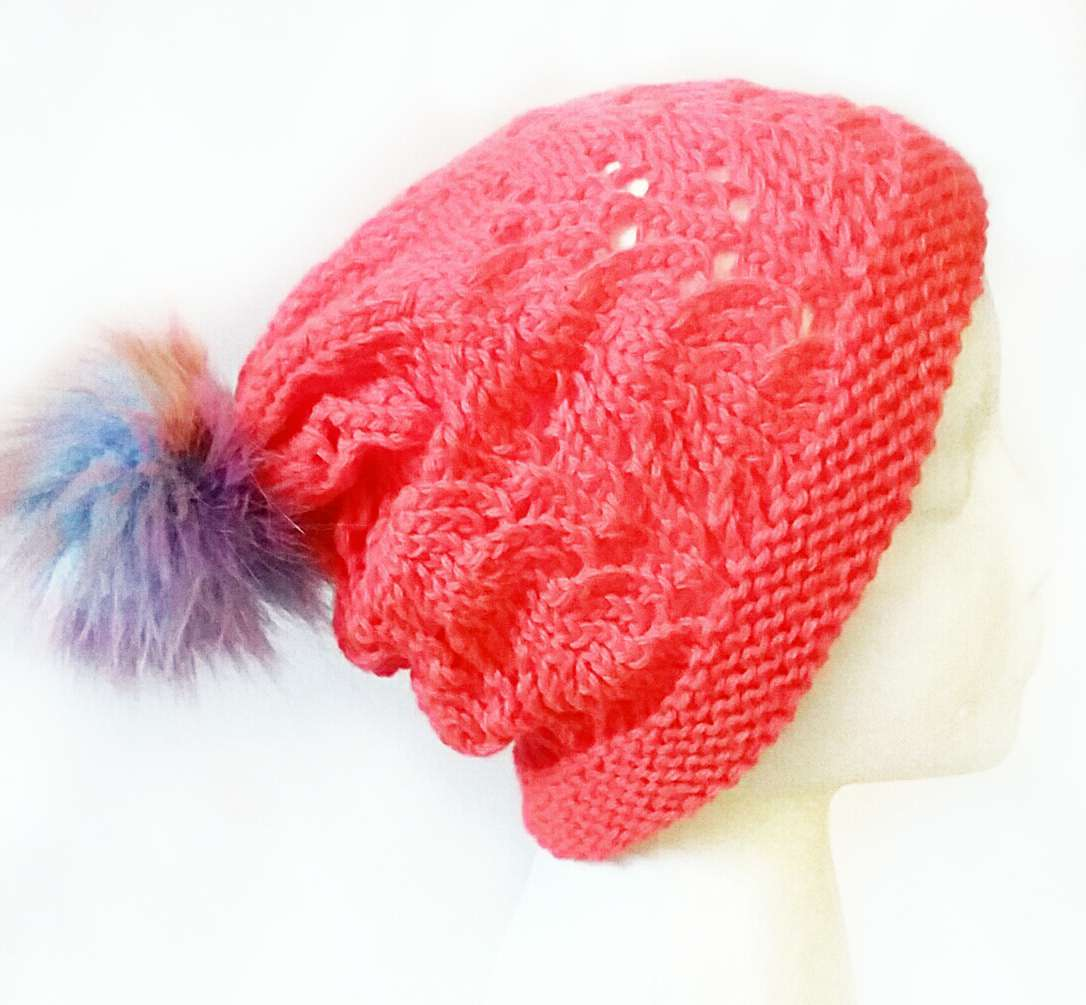 49fac48521e Neon Coral Lace Hat « KB Looms Blog