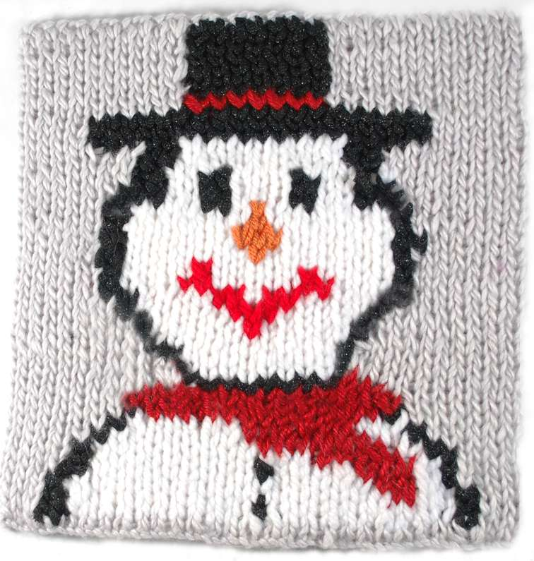 Holiday Snowman Square (double knit) « KB Looms Blog