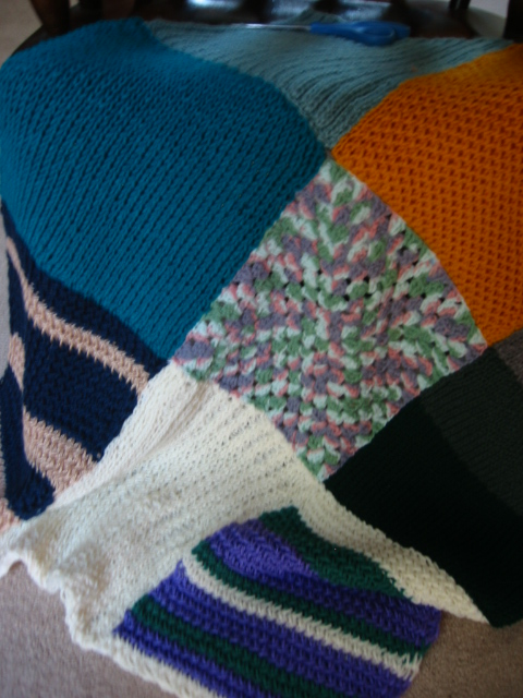 4 Knitters contribute to this beautiful Blanket.