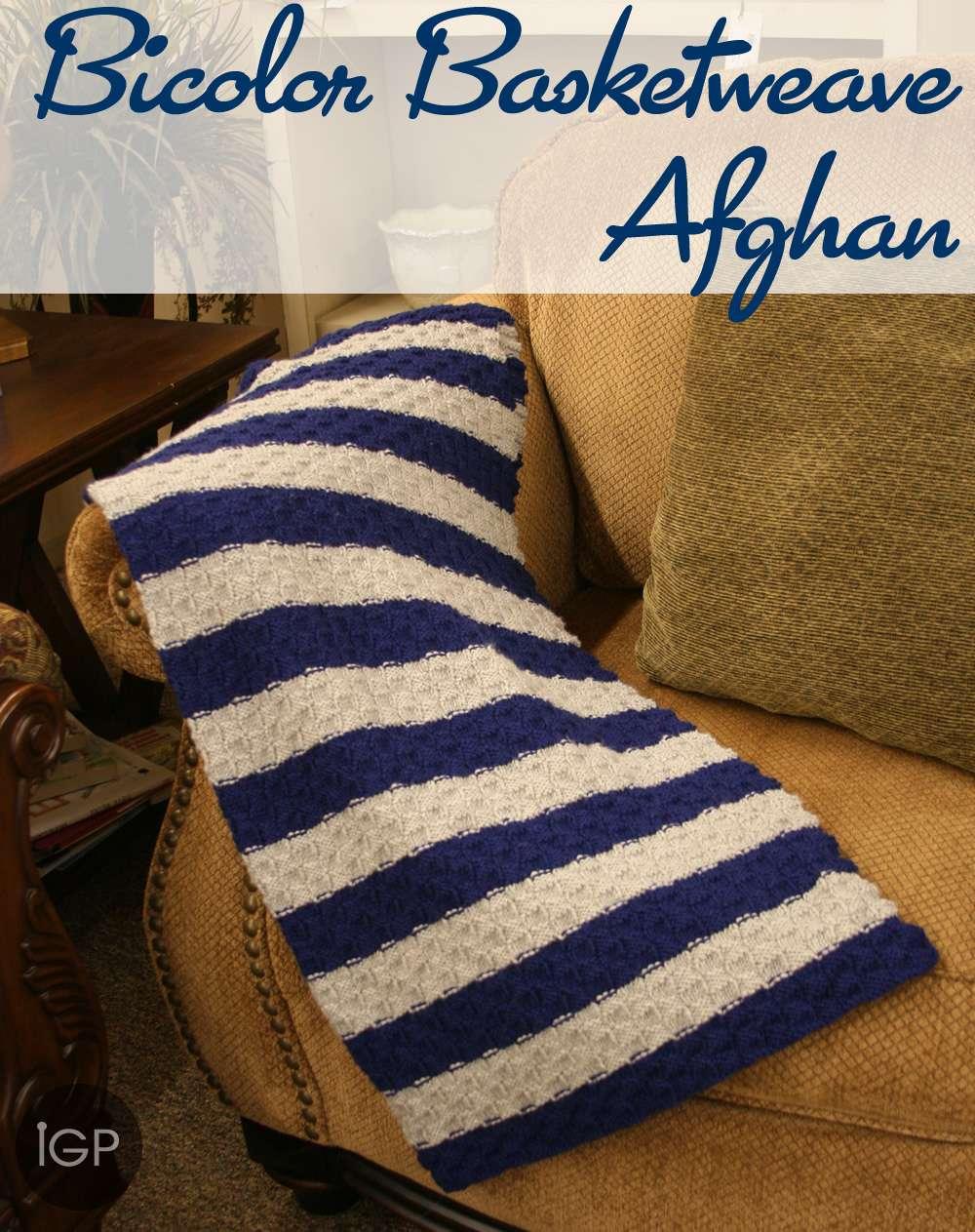 Bicolor Basketweave Afghan