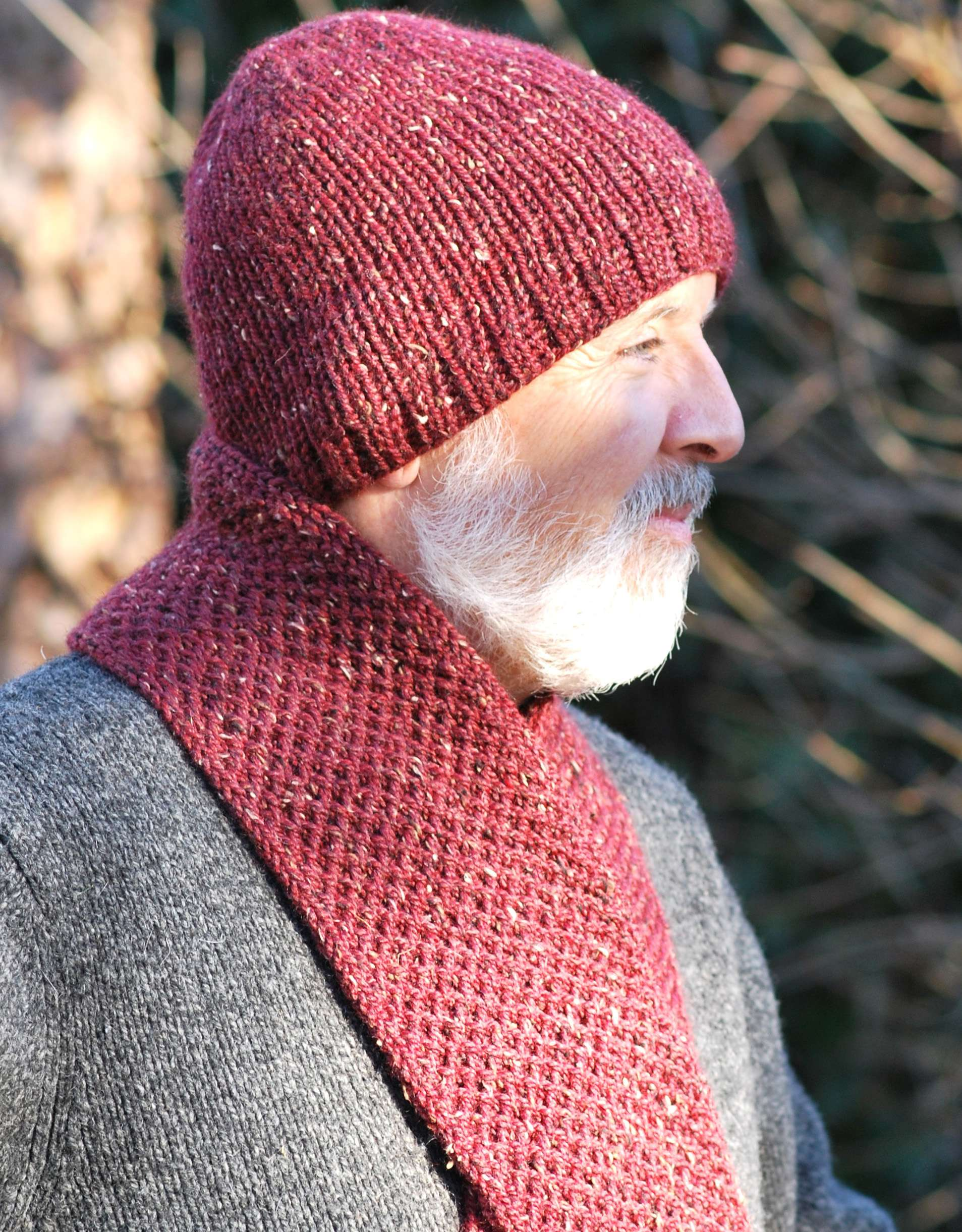 Men's Double Knit Hat &Scarf Combo