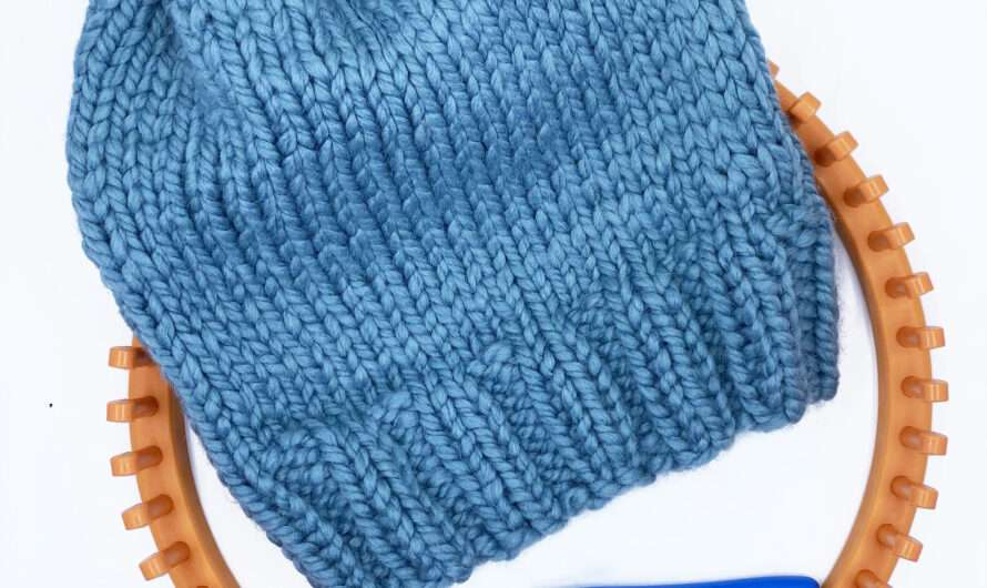 Loom Knit Hat with Ribbed Brim