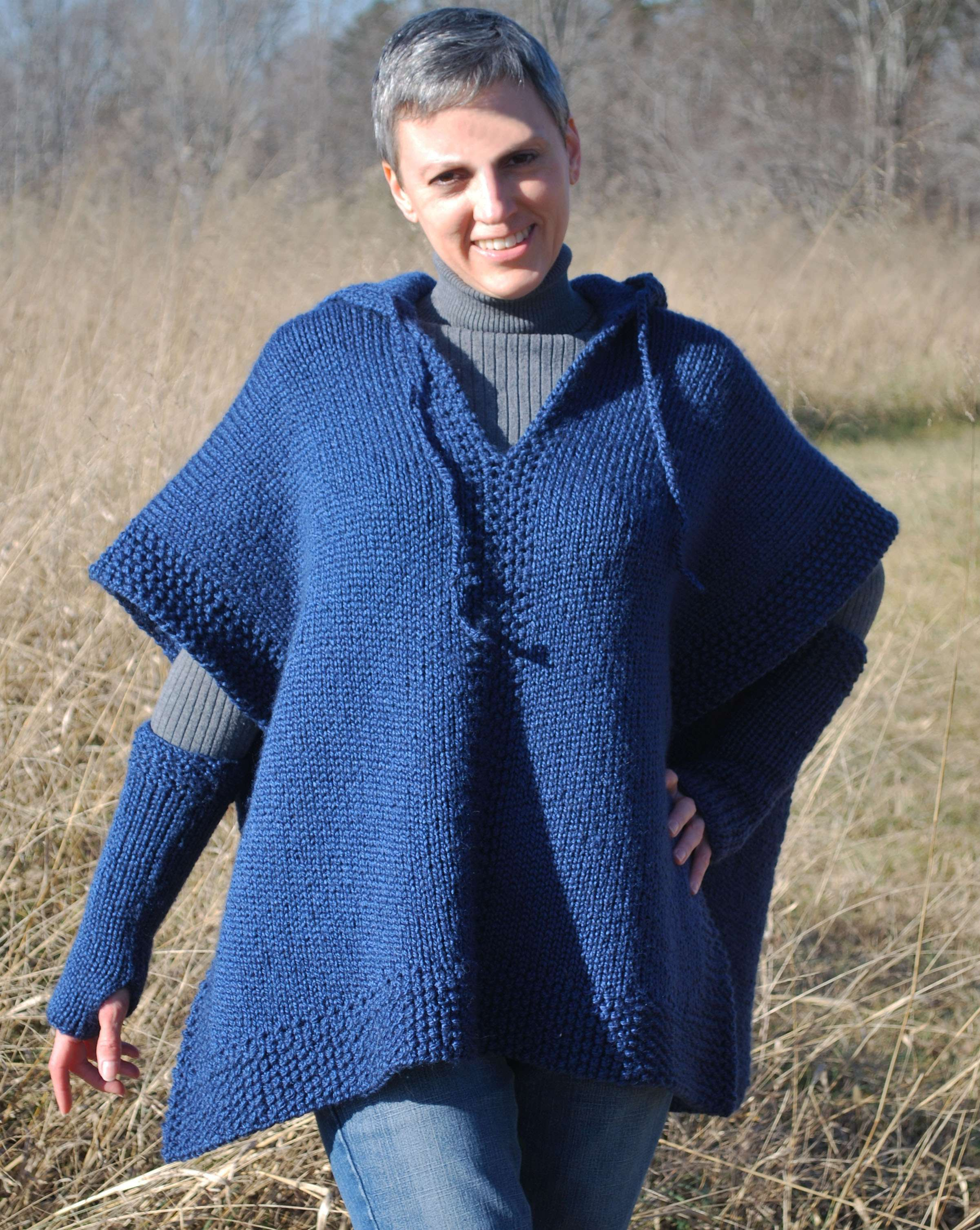 Poncho with Fingerless Mittens (double knit)