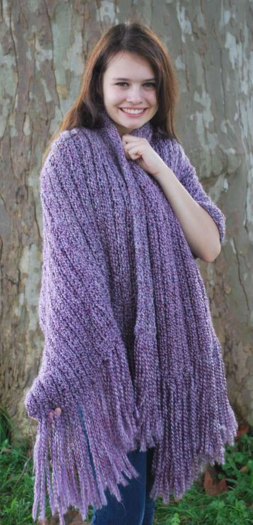 Ready For Fall? Double Knit Ribbed Shawl - KB Looms Blog