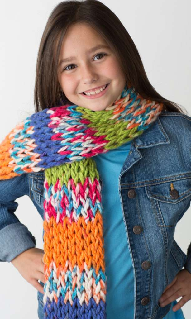Simple double knit scarf, knit using the straight connectors
